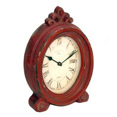 "Rustic and Vintage - Red Decorative Large Wooden Table Clock - 7.25"" X 11.5""""  #11.5 #7.25 #Clock #Decorative #Large #Rustic #RusticMantelClock #Table #Vintage #Wooden The Rustic Clock"