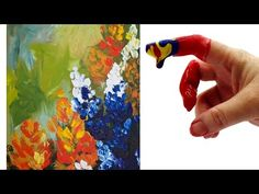 Wildflower FINGERPAINT Abstract Acrylic Painting for Beginners - YouTube