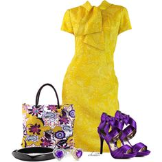 Bold Spring Colour by christa72 on Polyvore featuring Mr. Blackwell, Luichiny, Pieces and Zales