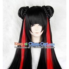 Black Chinese Ancient Knight Cosplay Long Wigs Classic Wig for Women ❤ liked on Polyvore featuring costumes, wig costume, womens costumes, cosplay halloween costumes, ladies costumes and ladies halloween costumes