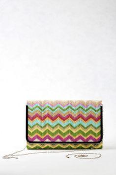 Μεγάλη Τσάντα Φάκελος, πολύχρωμη ριγέ ψάθα.  Χαρούμενα καλοκαιρινά χρώματα…