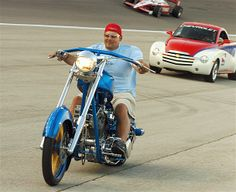 Paul Michael Teutul of Orange County Choppers rides onto pit road before a race in Fort Worth, Texas.
