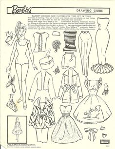 barbie chooses new clothes for trip out of town-drawing guide