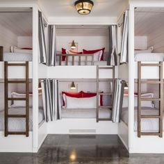 Custom bunks with wood ladders | Martha O'Hara Interiors