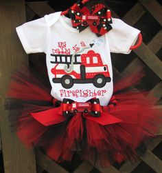 I want this!  My Daddy Is A Firefighter 3pc Tutu Outfit by TutuLulus on Etsy, $48.00