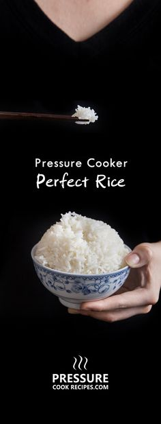 Make perfect pressure cooker rice every time. Easy fail-proof method on how to make white rice. Aromatic and fluffy rice ready to eat in 15 minutes. pressurecookrecipes.com