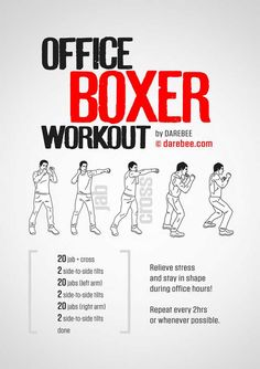 Sitting down all day! Get up every 2 - 3 hours and HIIT this office boxer training routine to stay in shape and feel great all day! Boxing Training Workout, Home Boxing Workout, Mma Workout, Kickboxing Workout, At Home Workouts, Boxer Training, Boxing At Home, Workout Fitness, Shadow Boxing Workout