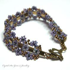 Bronze and Purple Aztec Daisy Bracelet - Crystal Star Gems & Jewellery