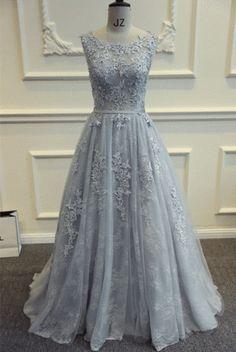 Backless grey embellished gown