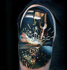 Mens Badass Upper Arm Welding Sparks Tattoo Design Ideas