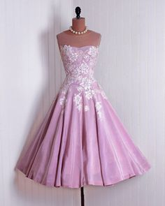 50s pink applique dress