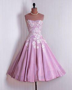 50s pink applique dress