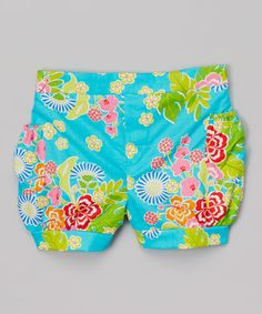 Look at this #zulilyfind! Turquoise Floral Copa Cabana Bubble Shorts - Toddler & Girls by Waistin' Away #zulilyfinds