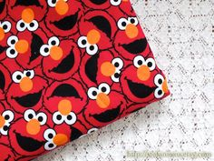 Cartoon Characters, Lovely Big Eye Elmo The Seasame Street On Red- Knit Cotton Fabric (1/2 Yard, 17.7x59 Inches) by stefaniexu on Etsy https://www.etsy.com/listing/210323020/cartoon-characters-lovely-big-eye-elmo
