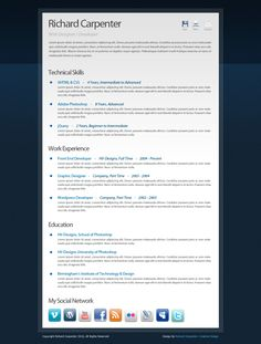 Free Creative Digital CV (Curriculum Vitae) PSD Template.