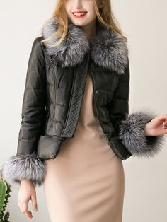 Faux Fur Collar Quilted Faux Leather Padded Coat   #coats #dress #fashion #outerwear #tops #womens