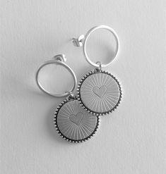 Earrings, Heart earrings, Hoop earrings, Silver, Greek jewelry, Everyday earrings, Made in Greece