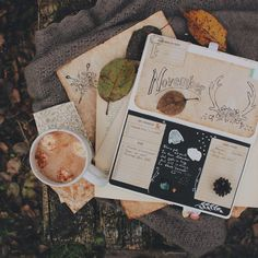 hot cocoa and journaling in planner at the beginning of november