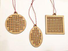 Laser Cut Wood Cross Stitch Ornaments