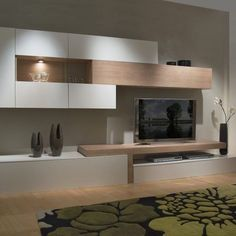 Love the built in unit and added lighting Living Room Wall Units, Living Room Tv Unit Designs, Home Living Room, Interior Design Living Room, Living Room Decor, Kitchen Interior, Tv Wall Design, Home Office Design, Home Decor