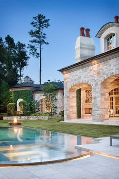 Stunning stone mansion with perfect pool and jacuzzi.