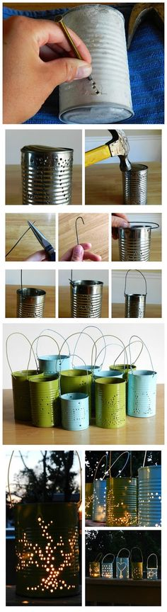 joybobo: Tin Can Lanterns  Put sand in the bottom first then add water.  This will keep the bottom of the can from bowing out