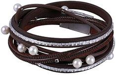 KELITCH Blue Leather Wrap Multilayers Men Bracelet Strand Crystal Beads Handmade Charm Bracelets for Women Gifts Card Packs