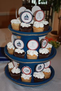 nautical baby shower idea...love the stand. would be so easy to make