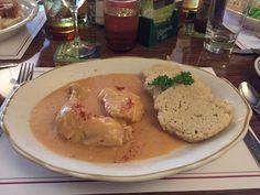 Chicken paprikash with dumplings at Old Prague in Vermilion, Ohio.