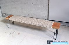 Wood and knitted wool bench with hairpin legs