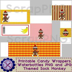 Sock Monkey Candy Wrappers Bars Mints and Waterbottles - $5.00 : ScrapPNG, Digital Craft Graphics