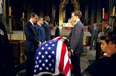 . Pall bearers stand over the casket of assassinated New York Senator Robert F. Kennedy in St. Patrick\'s Cathedral in New York, June 8, 1968. (AP Photo)