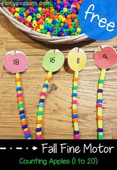 Free fall fine motor activities, including these number apples which help kids learn numbers up to Numeracy Activities, Fine Motor Activities For Kids, Motor Skills Activities, Autumn Activities, Fine Motor Skills, Learning Activities, Kids Learning, Dementia Activities, Physical Activities