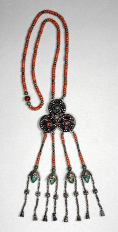 Mongolia | Necklace; silver coral and turquoise | ca. 1900 - 1950.  Ordos | ©Asian Art Museum, San Francisco