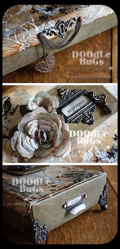 Doodlebugs: Altered Box/ i love the antique metalwork in these pieces