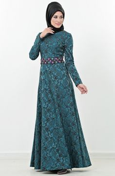 Myred Kloş Kesim Elbise-Yeşil Siyah 1586-2101