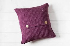 SALE, Purple Crochet Cushion Cover, Envelope Cushion, Rustic Farmhouse Pillow, Shabby Chic, Country Pillow, Girls Bedroom, Scatter Cushion