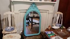 Check out this item in my Etsy shop https://www.etsy.com/listing/233979119/antique-beveled-glass-mirror-painted