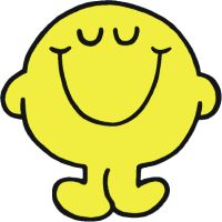Pin the smile on Mr Happy - yellow paper plate + cardboard arms and legs. Draw in eyes. Black pipe cleaner smile to pin on the Happy man!
