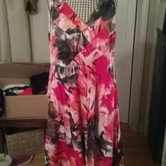 """Sleeveless dress Beautiful sleeveless v neck dress, zip back, multi colored dress. Shades if pink, coral grey and black, pretty v neck detail. Worn a few times, great condition. Cotton spandex blend. 42"""" shoulder to hem Lane Bryant Dresses"""