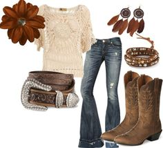 Love the touch of bohemian hippy mixed with cowgirl.