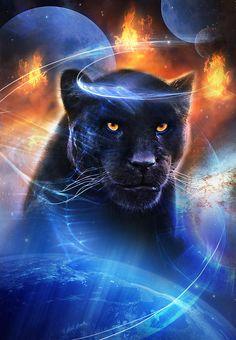 Proud Black Panther spirit animal Big Cats Art, Cat Art, Black Panther Cat, Mosaic Animals, Lion Art, Fantasy Paintings, Fantasy Art, Majestic Animals, Tier Fotos