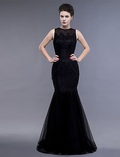 2bd964e5ce4 Formal Evening / Military Ball Dress Fit & Flare Jewel Floor-length Lace /  Tulle