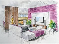 2 Point Interior Design Perspective Drawing Manual Rendering How To  Tutorial Lessons 4 Watercolour