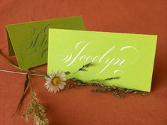 1 Calligraphy Place Card, May Green coloured Card Board, with White or Teal Coloured Ink (Folded Card) by Federflug