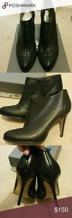 """NEW Vince Camuto Vo-Leena Perforated Ankle Bootie Brand new, never worn, Perfect condition . Bottom slight spot is only from people trying on in the store. These are so hot. Perforated Leather , so you can wear them in Spring and summer , the skinny heel is 4"""" high. They are comfortable and easy to walk in. Can't wear heels right now because of medical issues, I'm so upset. Anyway,  I want these to go to a nice home. Vince Camuto Shoes Ankle Boots & Booties"""