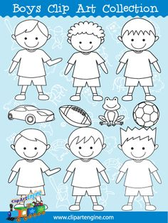 Boys Line Art - Included in the Boys Clip Art Collection