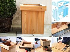 Best selection of free woodworking DIY plans for building a square planter box. Square planters for every style and taste. Diy Wood Planter Box, Planter Box Designs, Bird Bath Planter, Square Planter Boxes, Planter Box Plans, Diy Planters, Log Wood Projects, Diy Pallet Projects, Woodworking Shop Layout