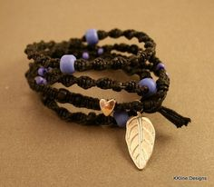 Black and Purple Macrame Spiral Wrap Bracelet made with Cotton Cord. Silver Heart Bead and Leaf Charm.
