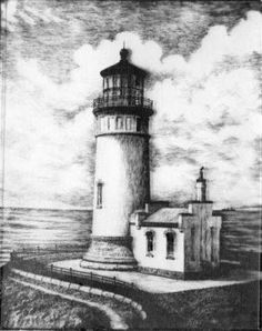 """North Head Lighthouse"" a pen and ink drawing, by Charles Fitzpatrick"